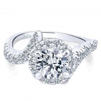 14K White/Pink Gold Diamond Halo Two-Tone Engagement Ring ER12759R4T44Jj