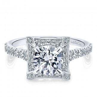 14K White/Pink Gold Diamond Halo Two-Tone Engagement Ring ER12816R4T44Jj
