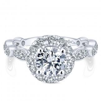 14K White/Pink Gold Diamond Halo Two-Tone Engagement Ring ER12833R4T44Jj
