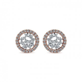 14k White/pink Gold Diamond Stud Earrings
