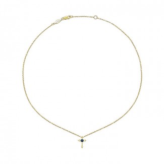 14k Yellow Gold And Sapphire Fashion Necklace