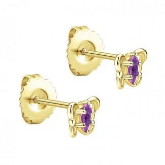 14k Yellow Gold Amethyst Stud Earrings