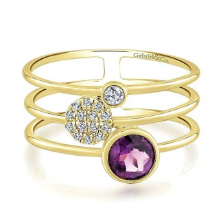 14k Yellow Gold Diamond Amethyst Fashion Ladies' Ring