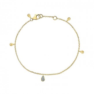 14k Yellow Gold Diamond Chain Bracelet