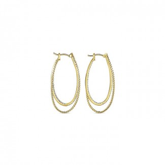14k Yellow Gold Diamond Classic Hoop Earrings