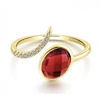 14k Yellow Gold Diamond Garnet Fashion Ladies' Ring