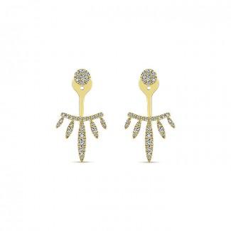 14k Yellow Gold Diamond Peek A Boo Earrings