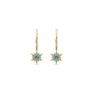 14k Yellow Gold Diamond Swiss Blue Topaz Drop Earrings