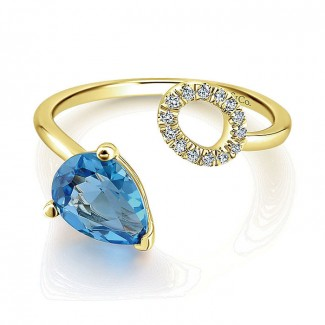 14k Yellow Gold Diamond Swiss Blue Topaz Fashion Ladies' Ring