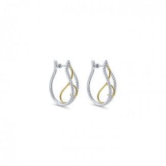 14k Yellow/white Gold Diamond Intricate Hoop Earrings