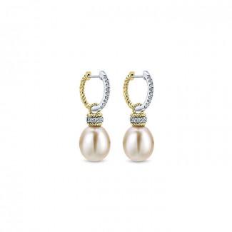 14k Yellow/white Gold Diamond Pearl Drop Earrings