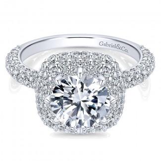 18K White Gold Diamond Double Halo 18K White Gold Engagement Ring ER13658R6W84Jj