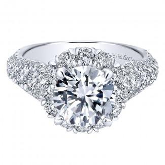 18K White Gold Diamond Halo 18K White Gold Engagement Ring ER11989R6W84Jj
