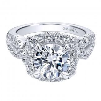 18K White Gold Diamond Halo 18K White Gold Engagement Ring ER11991R8W84Jj