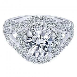 18K White Gold Diamond Halo 18K White Gold Engagement Ring ER11996R6W84Jj