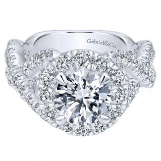 18K White Gold Diamond Halo 18K White Gold Engagement Ring ER11999R6W84Jj