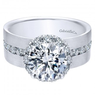 18K White Gold Diamond Halo 18K White Gold Engagement Ring ER12341R6W84Jj