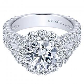 18K White Gold Diamond Halo 18K White Gold Engagement Ring ER8299W84Jj