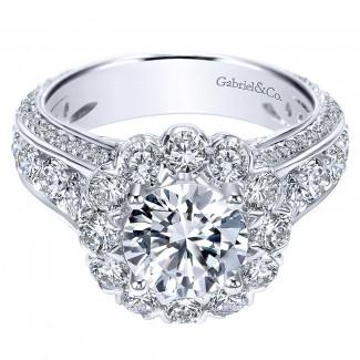 18K White Gold Diamond Halo 18K White Gold Engagement Ring ER8321W84Jj