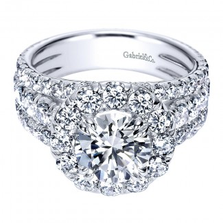18K White Gold Diamond Halo 18K White Gold Engagement Ring ER8322W84Jj