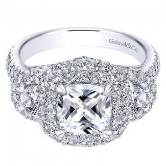18K White Gold Diamond Halo 18K White Gold Engagement Ring ER8470W84Jj