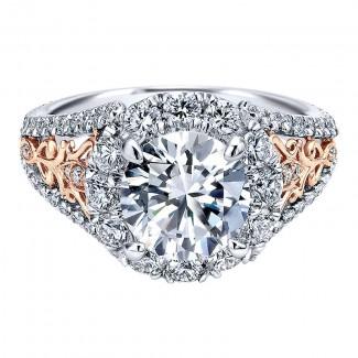 18K White/Pink Gold Diamond Halo Two-Tone Engagement Ring ER11980R6T84Jj