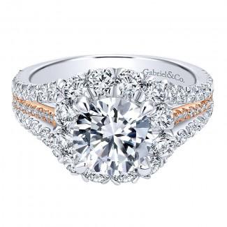 18K White/Pink Gold Diamond Halo Two-Tone Engagement Ring ER11987R6T84Jj