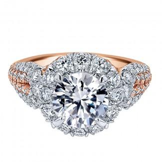 18K White/Pink Gold Diamond Halo Two-Tone Engagement Ring ER11988R6T84Jj