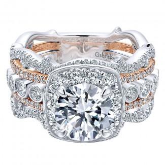 18K White/Pink Gold Diamond Halo Two-Tone Engagement Ring ER12197R4T84Jj