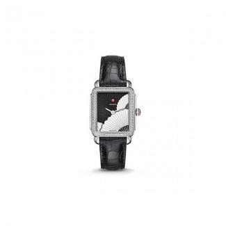 Deco II Mid Diamond, Fan Dial Black Alligator Watch