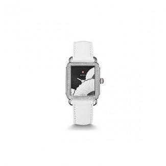 Deco II Mid Diamond, Fan Dial White Leather Watch