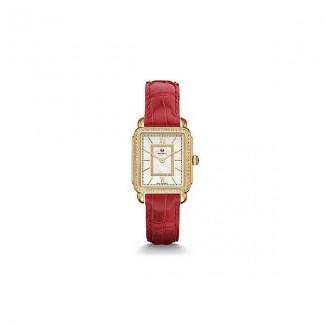 Deco II Mid-size Diamond Gold, Garnet Alligator Watch