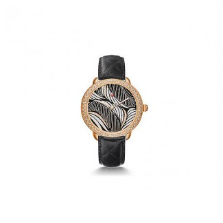 Serein 16 Diamond Rose Gold, Willow Diamond Dial Black Leather Watch