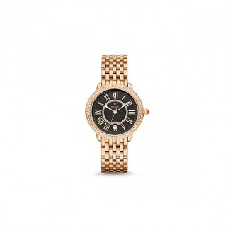 Serein 16 Diamond Rose Gold, Black Diamond Dial Watch