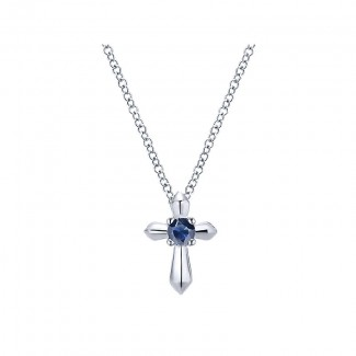 Gaby Necklace 925 Silver And Sapphire Cross