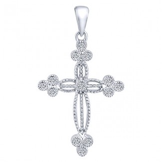 14k White Gold Diamond Cross Cross Pendant