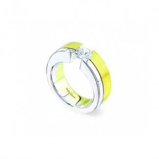 Gelin Abaci 14k White and Yellow Gold Diamond Engagement Ring TR-092