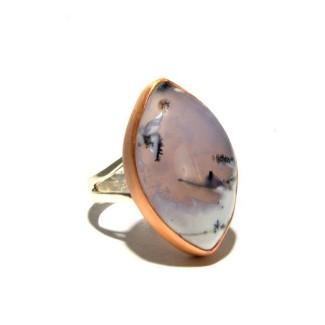 Mixed Metal Dendritic Opal Ring