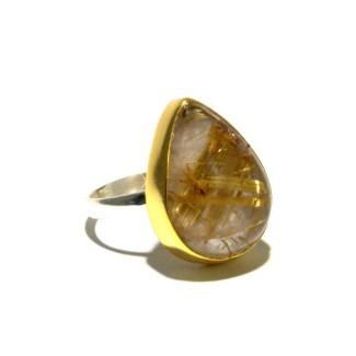 Mixed Metal Golden Rutilated Quartz Ring