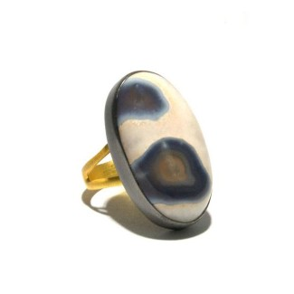 Mixed Metal Solar Ice Quartz Ring