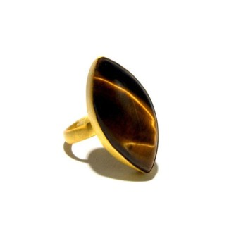 Marquise Tiger'S Eye Statement Ring