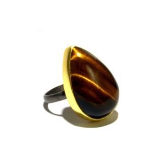 Mixed Metal Tiger'S Eye Ring