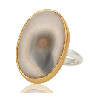 Oval Solar Ice Agate In Mixed Metal