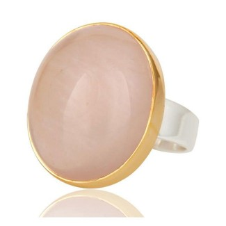 Rose Quartz Ring In Mixed Metal