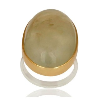 Oval Prehnite Ring In Silver + Gold