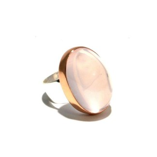Mixed Metal Rose Chalcedony Ring