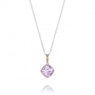 Pavé Bloom Pendant featuring Rose Amethyst