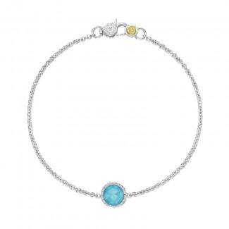 Petite Floating Bezel Bracelet featuring Neo-Turquoise