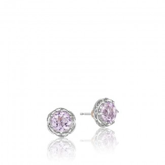 Crescent Crown Studs featuring Rose Amethyst