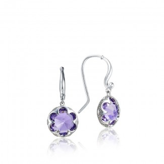 Crescent Drop Earrings featuring Amethyst